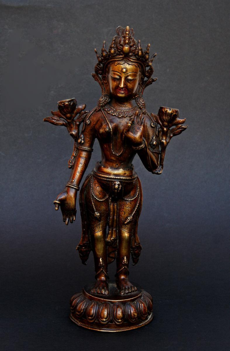 Ancien Bronze Népalais Népal Avalokitesvara Bodhisattva Bouddhiste Bouddha