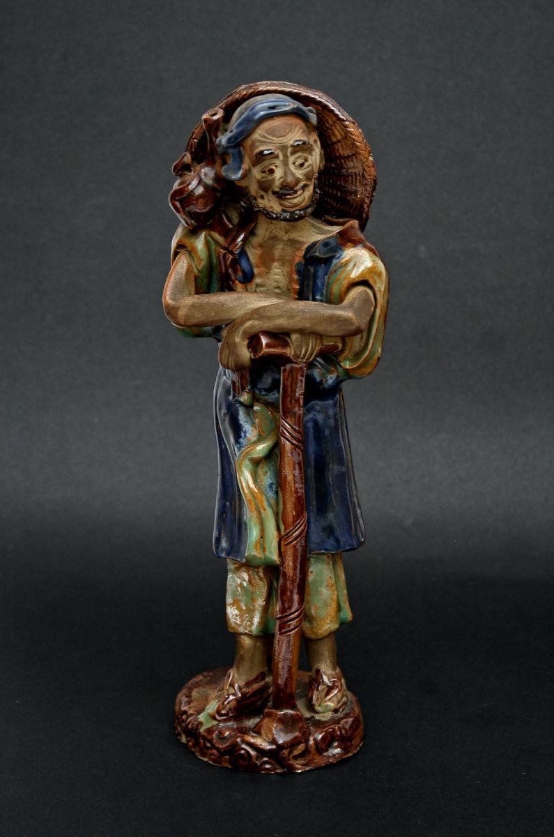 Ancien Figure Gres Chinoise Shiwan Immortel Taoist Li Tieguai.