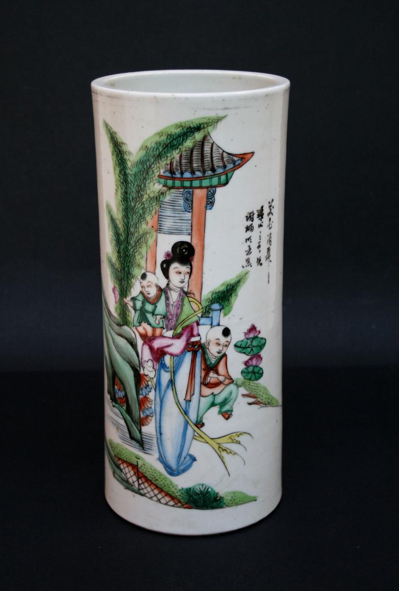 Pot à Pinceaux, Bitong En Porcelaine. Chine.republique