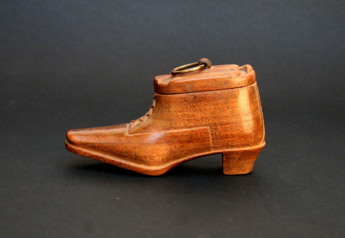Ancienne Boite A Chaussure Tabatière Française  Colonial Afrique