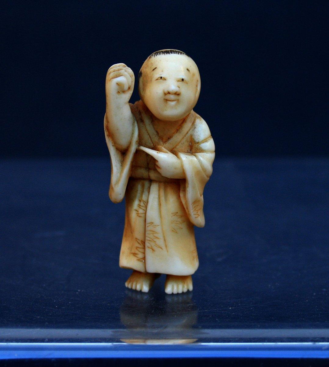Okimono En Ivoire Japon Fin Du 19 ème Siècle Sculpture Miniature ,époque Meiji