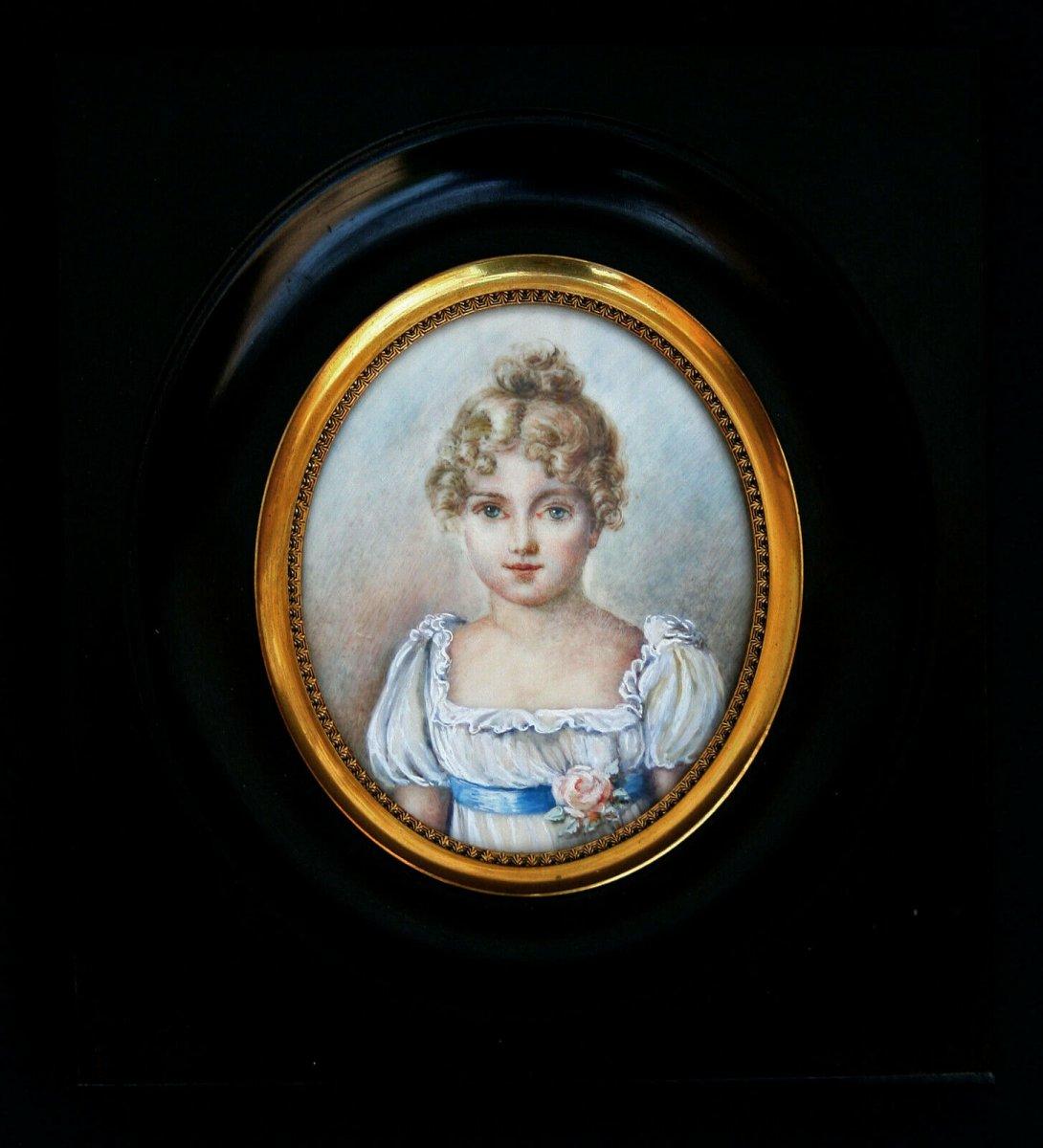 Delightful Antique Portrait Miniature Pretty Young Girl