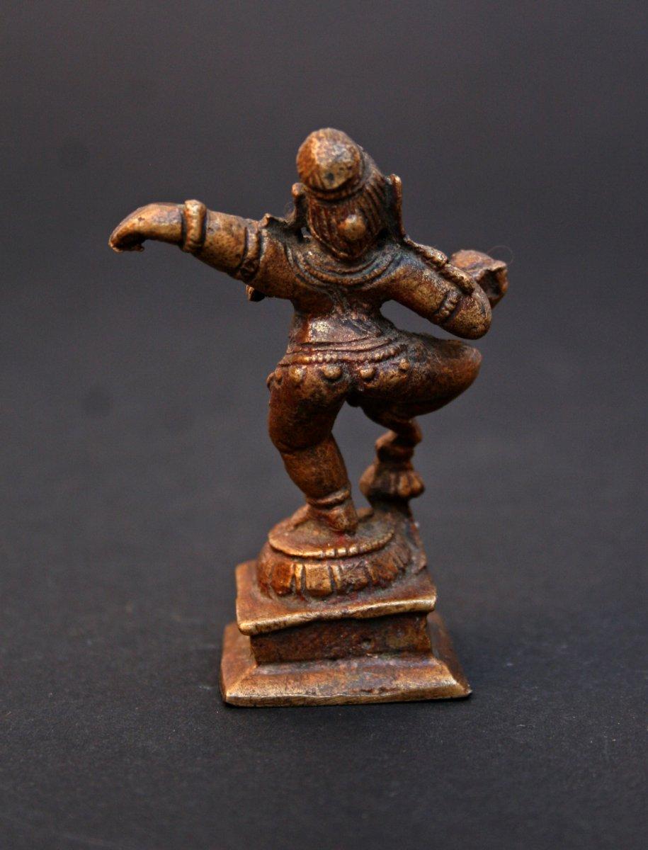 Petite Statuette Ancienne  En Bronze d'une Krishna Dansant-photo-3