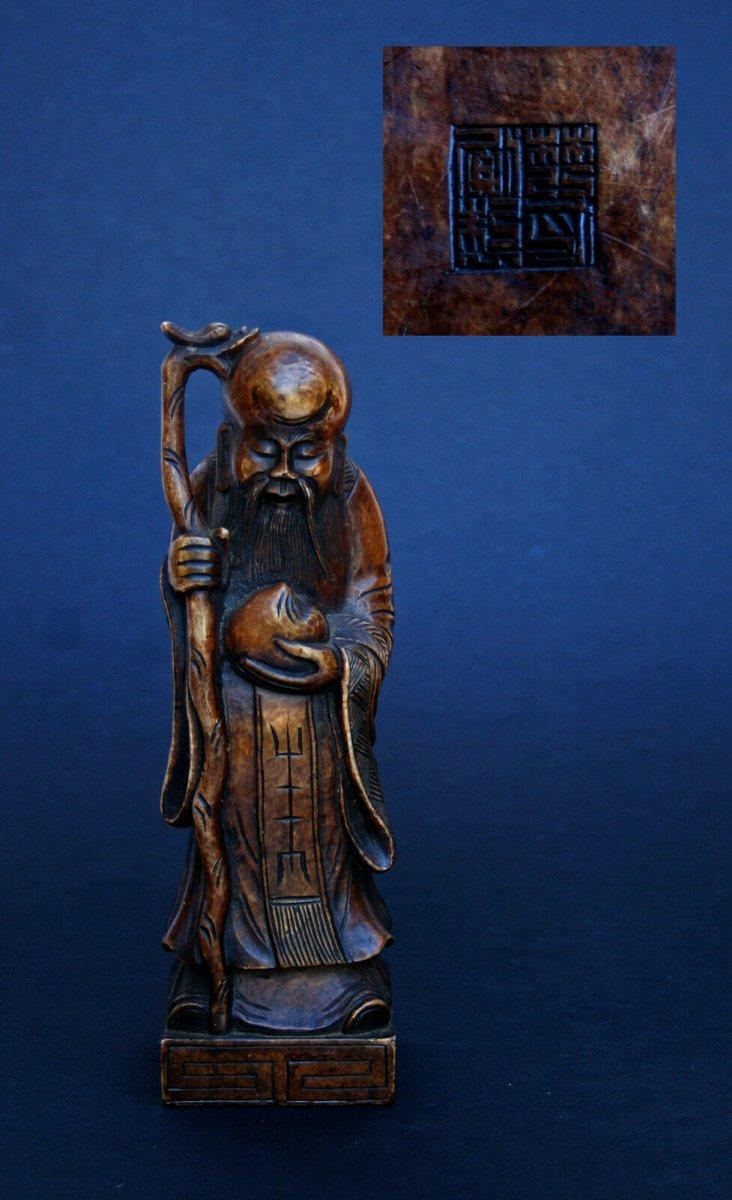 Ancienne Figure Chinoise Shoulao En Pierre De Savon  Sceau Signature Artiste Marque Longévité