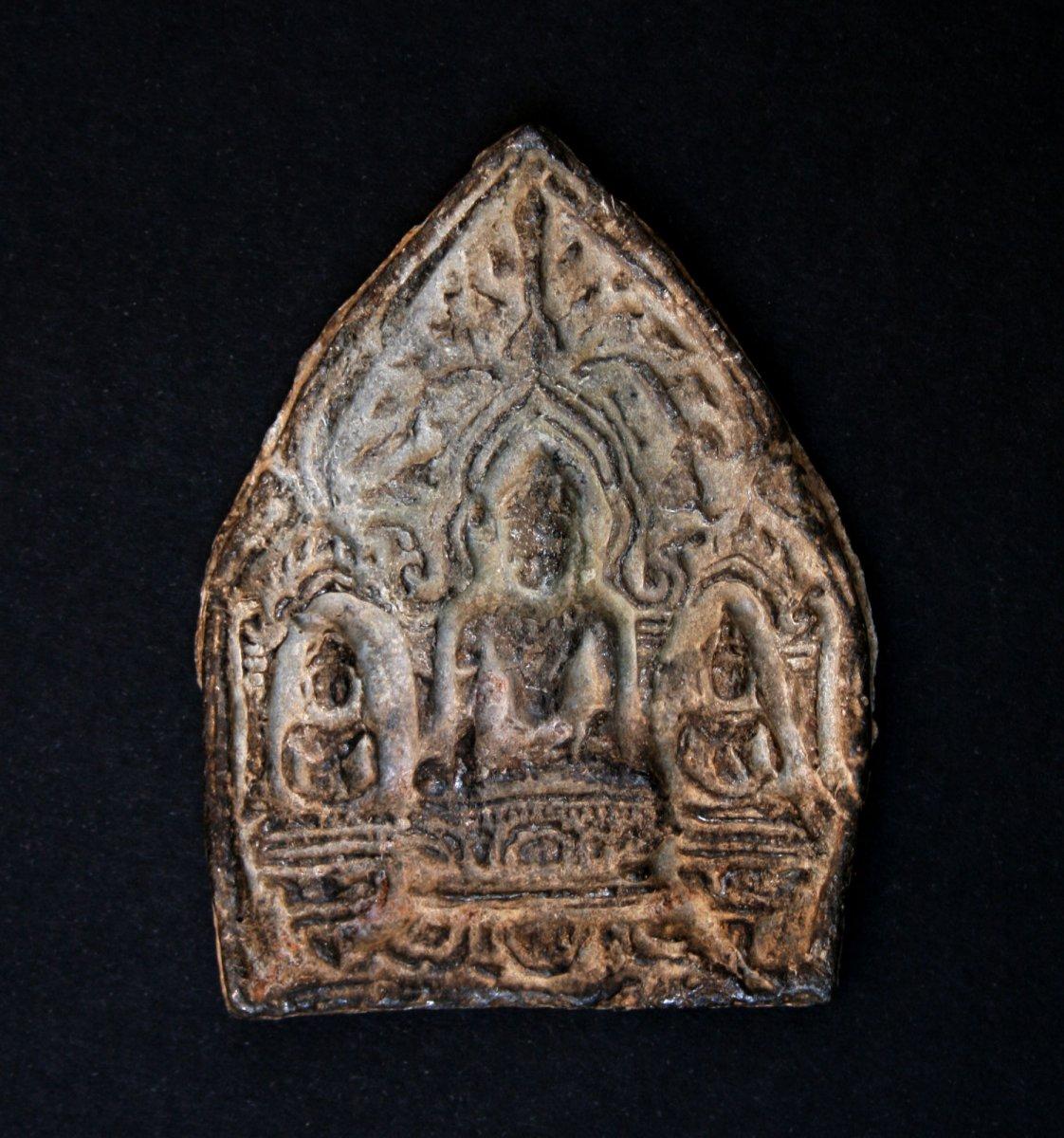 Antique Tsa Tsa Votive Amulet Buddhist Thai Buddha Or Khmer