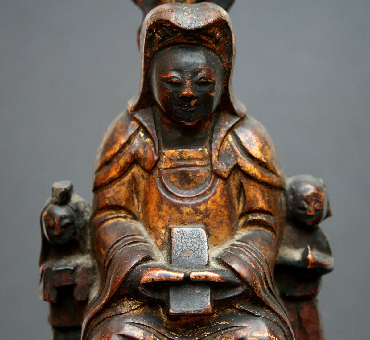 Antique Chinese Guanyin Carved Gilded Wood Lotus Throne Buddhist Goddess Mercy-photo-1