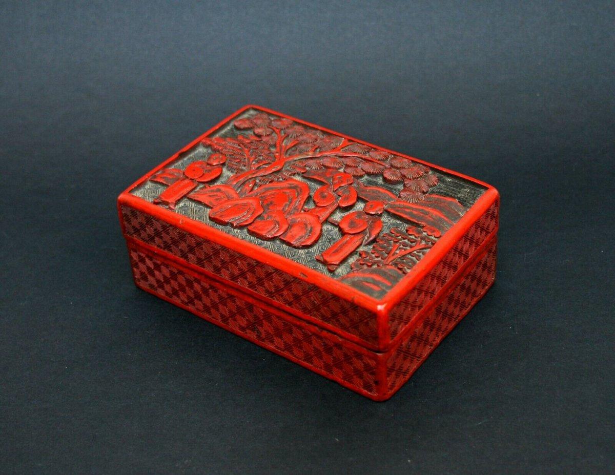 Ancienne Boite Laque Cinnabar Chinois