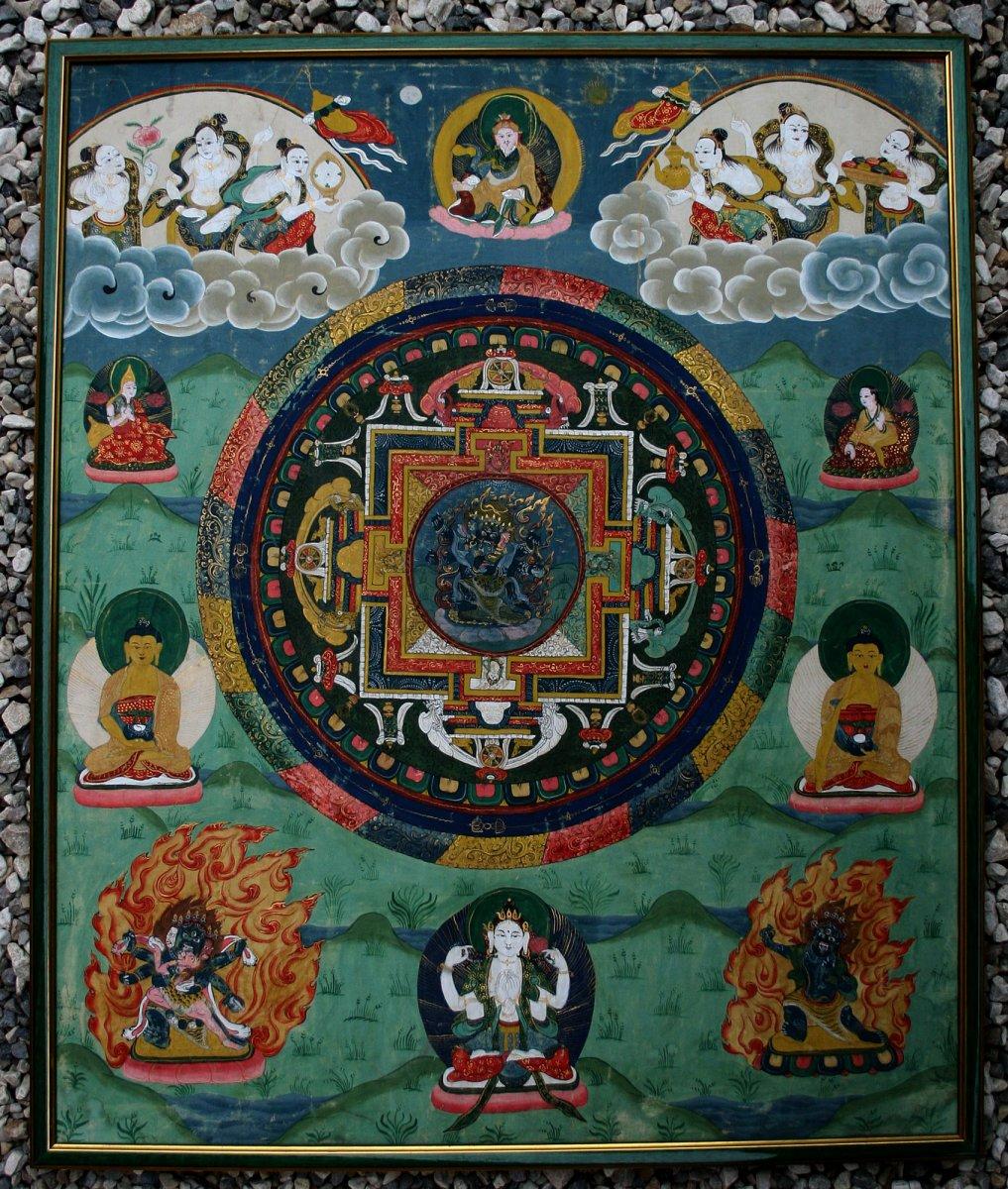 Antique Tibetan Thangka Buddha Buddhist Hand Painted