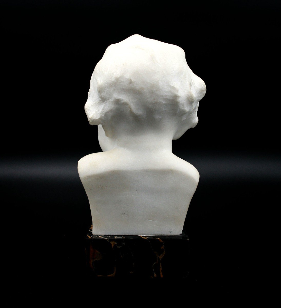 Ancien Buste En Marbre Italien Mignon Bébé Signé -photo-3