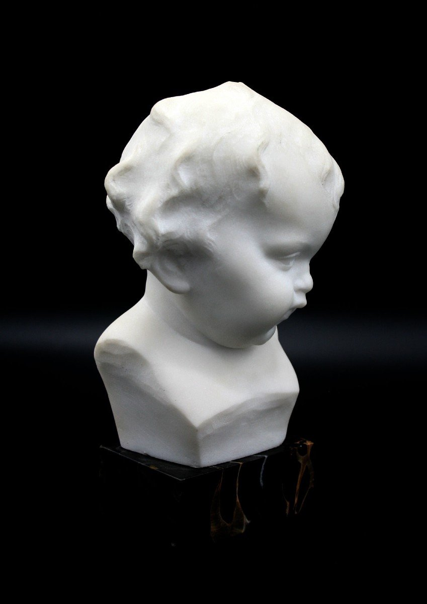 Ancien Buste En Marbre Italien Mignon Bébé Signé -photo-1