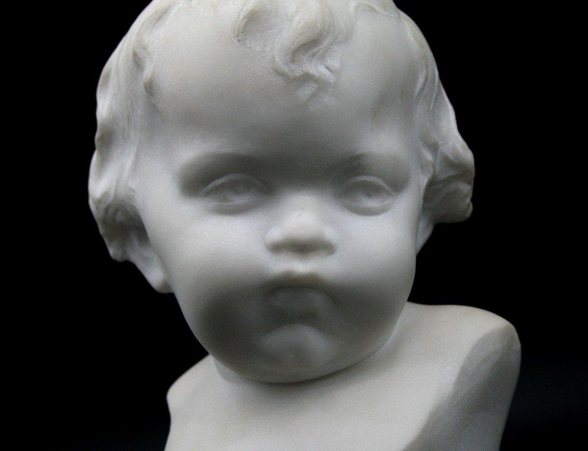 Ancien Buste En Marbre Italien Mignon Bébé Signé -photo-2