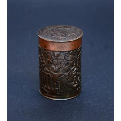Antique Chinese Copper Bronze Engraved Opium Container Box Chine