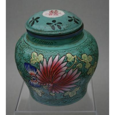 Antique Chinese Yixing Pottery Tea Jar And Cover With Enameled Decoration China