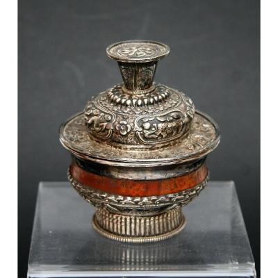 ANCIEN BOL DE TEA TIBETAIN CHINOIS MONGOLE ARGENT BOIS