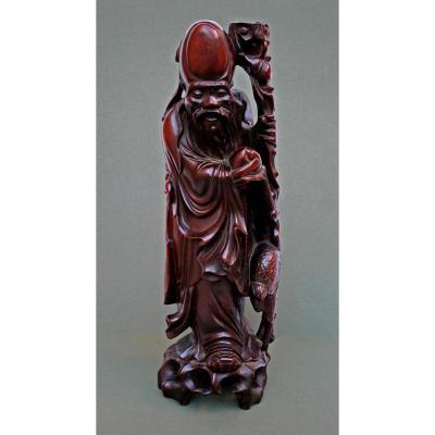 Ancien Grande Lampe Chinoise Bois Sculpté Chine Shou Lao - Dieu Daoiste De Longévité