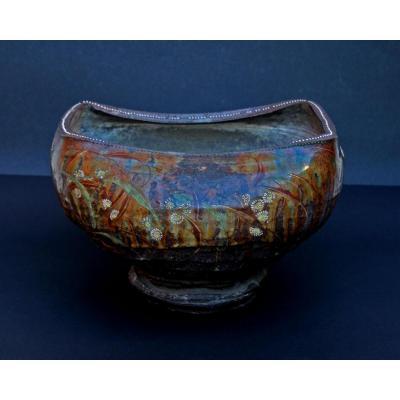 Anciene  Japonaise Art Studio Ikebana Vase Edo Meiji Japon