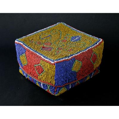 Antique African Bamileke Cameroon Beaded Box