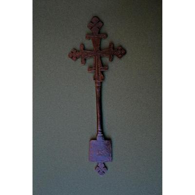 Ancienne Croix éthiopien Copte Chrétiens En Bronze Gravée