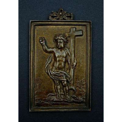 Ancienne Plaquette Bronze Christ Enfant Espagnol