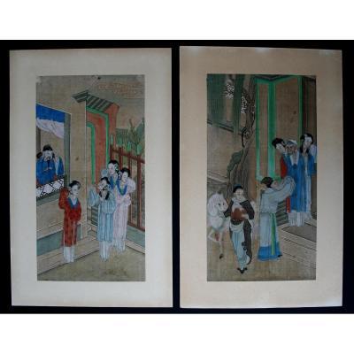 Ancien Paire Peintures Chinoises