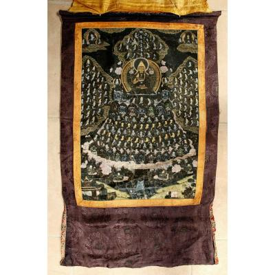 Antique Tibetan Thangka Gelugpa Refuge Field Lama Tsongkhapa