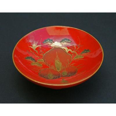 Ancien Bol Japonais En Laque  Finement Peint  d'Or Minogame Meiji
