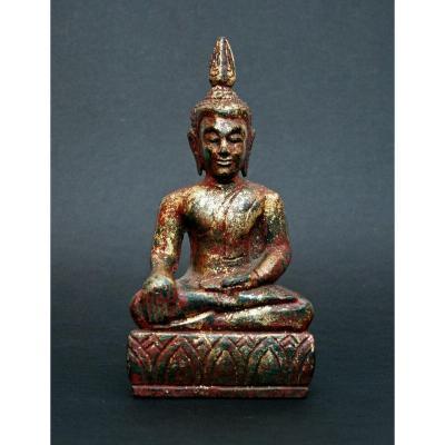 Antique Thai Carved Wood Shakyamuni Buddha Bhumisparsha Mudra Touching The Earth