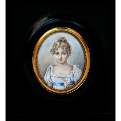 Ancien Charmant  Portrait Miniature Jolie Jeune Fille