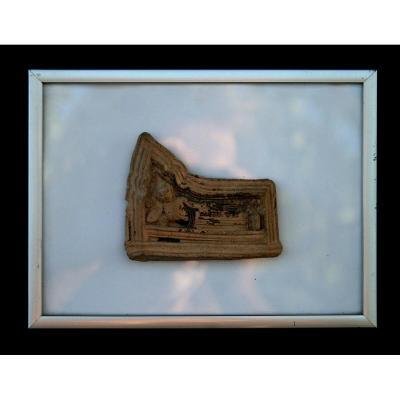 Ancien Terracotta Plaque Votive Inclinée Bouddha Dormant Bouddhiste De ThaÏlande