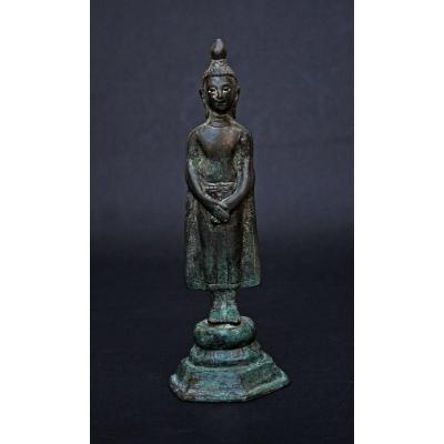 Bouddha Éclairé En Bronze Antique ThaÏlandais - Figure Excavée Ancien - Sukhothai