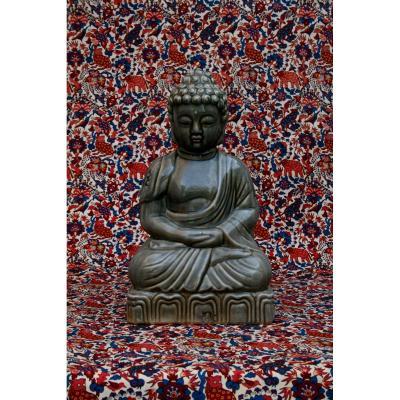 Grand Vintage Bouddha Shakyamuni Méditation Céladon  Dhyana Mudra