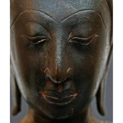 Ancienne Bronze Thailandais Bouddha Sukhothai XVeme