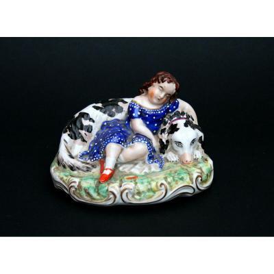 Ancienne Figure  Poterie anglais  Staffordshire Epoque Victorienne   Fille Qui Dort Avec Chien C1860
