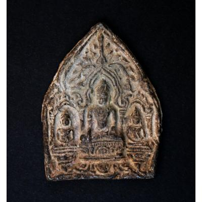 Anciene Tsa Tsa amulette Votive Bouddhiste Bouddha Thaïlandais Ou Khmer
