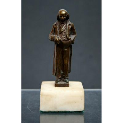 Ancien Miniature Bronze Statuette De Benjamin Franklin Americana