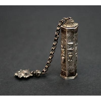 Antique Chinese Silver Gilt Opium Container