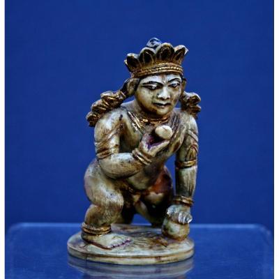 Antique Indien Krishna 17eme Hindou Ivoire  Sculpté à La Main Polychrome Doré