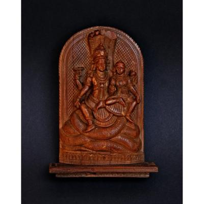 Antique Lord Vishnu Lakshmi Indian Hindu Temple Wood Carving