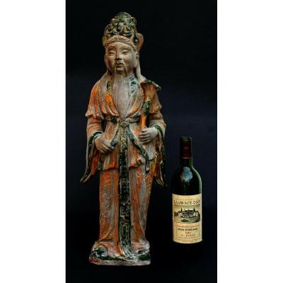 Grande Figure En Céramique Chinoise Luxing  Dieu d'étoile de la prospérité Immortel Façon Tang