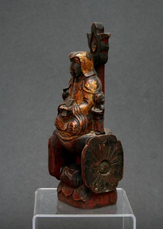 Antique Chinese Guanyin Carved Gilded Wood Lotus Throne Buddhist Goddess Mercy-photo-2