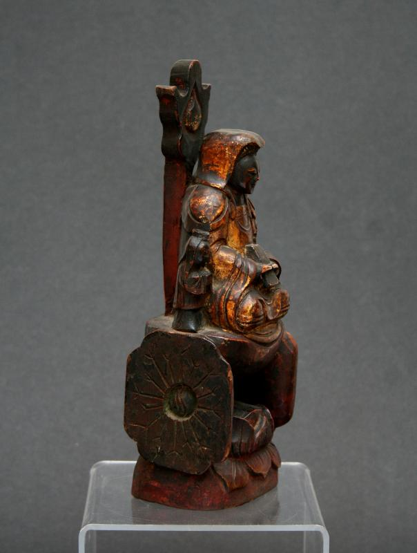 Antique Chinese Guanyin Carved Gilded Wood Lotus Throne Buddhist Goddess Mercy-photo-4