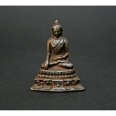 Rare Antique Thai Cast Iron Buddha Stupa Bhumisparsha Mudra Touching The Earth