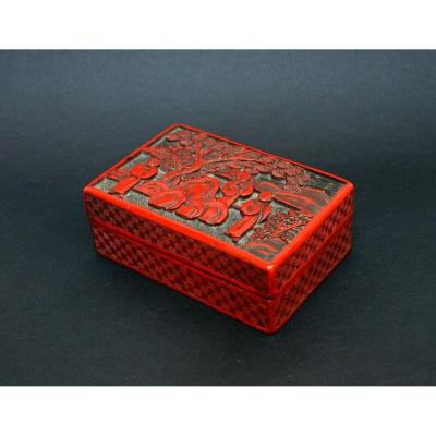 Antique Chinese Cinnabar Lacquer Box - French Flea Market Find