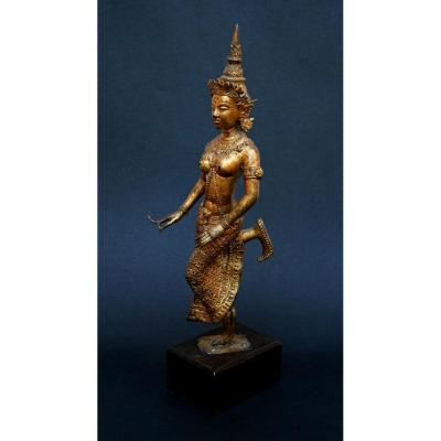 Exquisite Antique Thai Rattanakosin Gilt Bronze Dancing Girl Temple Dancer