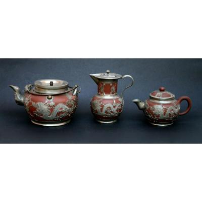 Antique Chinese Tea Set Yixing Shanghai Pewter