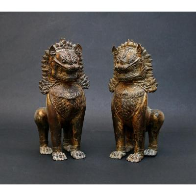 Pair Large Antique Thai Gilt Bronze Temple Guardian Lions