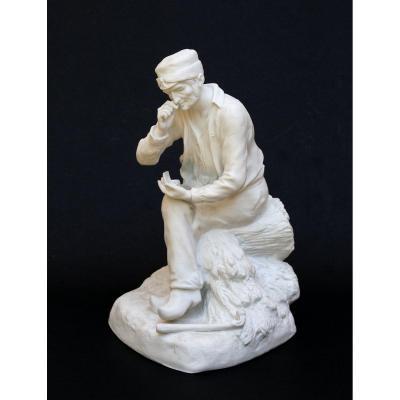 Porcelaine Biscuit Prise du Tabac Figure Sèvres Paris Signé George Maxim Tabatière