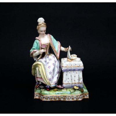 Figurine Porcelaine Meissen Marcolini émblmatique du Sens de la Vision J.c. Schonheit