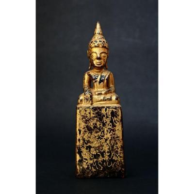 Shakyamuni Bouddha ThaÏlandais Bois Sculpté Doré Bhumisparsha Mudra