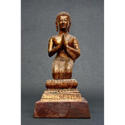 An Antique Thai Rattanakosin Gilt Bronze Disciple Devotee Buddha Buddhist Monk